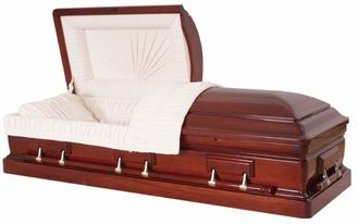 China Compact Solid Mahogany Wooden Coffin , Eco Friendly Caskets Non Toxic supplier