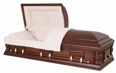 China Solid Walnut Wooden Caskets Semi Gloss SWC10 With Almond Velvet Interior supplier